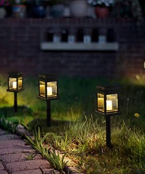 GIGALUMI 8 Pack Solar Hanging Lantern Outdoor Candle Effect Light With Stake For GardenPatio Lawn Deck Umbrella Tent TreeYardDriveway Warm White 0 300x360