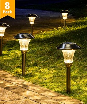 GIGALUMI 8 Pack Solar Pathway Lights Solar Pathway Lights Outdoor Warm White Waterproof Glass Stainless Steel Automatic Solar Landscape Lights For Patio Yard Lawn Garden And Path Silver Finish 0 300x360