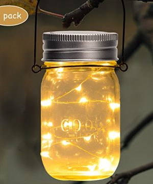 GIGALUMI Hanging Solar Mason Jar Lid Lights 6 Pack 30 Led String Fairy Lights Solar Laterns Table Lights 6 Hangers And Jars Included Great Outdoor Lawn Dcor For Patio Garden Yard And Lawn 0 0 300x360