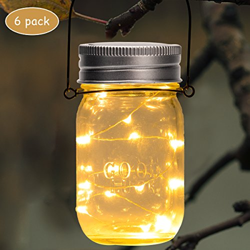 GIGALUMI Hanging Solar Mason Jar Lid Lights 6 Pack 30 Led String Fairy Lights Solar Laterns Table Lights 6 Hangers And Jars Included Great Outdoor Lawn Dcor For Patio Garden Yard And Lawn 0 0