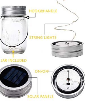 GIGALUMI Hanging Solar Mason Jar Lid Lights 6 Pack 30 Led String Fairy Lights Solar Laterns Table Lights 6 Hangers And Jars Included Great Outdoor Lawn Dcor For Patio Garden Yard And Lawn 0 1 300x360