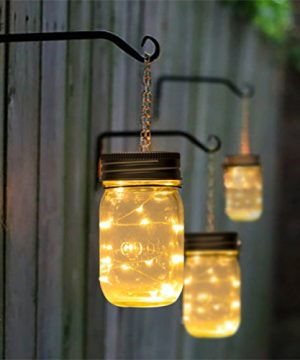 GIGALUMI Hanging Solar Mason Jar Lid Lights 6 Pack 30 Led String Fairy Lights Solar Laterns Table Lights 6 Hangers And Jars Included Great Outdoor Lawn Dcor For Patio Garden Yard And Lawn 0 4 300x360