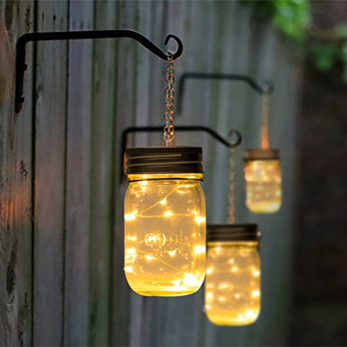 GIGALUMI Hanging Solar Mason Jar Lid Lights 6 Pack 30 Led String Fairy Lights Solar Laterns Table Lights 6 Hangers And Jars Included Great Outdoor Lawn Dcor For Patio Garden Yard And Lawn 0 4