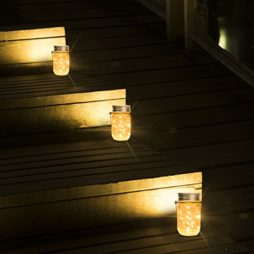 GIGALUMI Hanging Solar Mason Jar Lid Lights 6 Pack 30 Led String Fairy Lights Solar Laterns Table Lights 6 Hangers And Jars Included Great Outdoor Lawn Dcor For Patio Garden Yard And Lawn 0 5