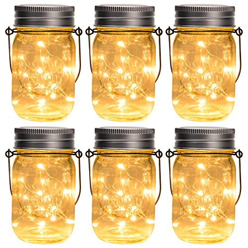 GIGALUMI Hanging Solar Mason Jar Lid Lights 6 Pack 30 Led String Fairy Lights Solar Laterns Table Lights 6 Hangers And Jars Included Great Outdoor Lawn Dcor For Patio Garden Yard And Lawn 0