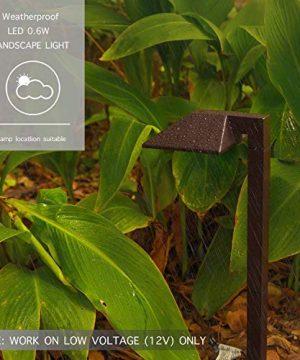 GOODSMANN Equinox 8 Pack LED Low Voltage Landscape Lighting 06 Watt Pathway Light With Metal Stake 22 Lumen Warm White Charcoal Brown 9920 2101 08 0 1 300x360