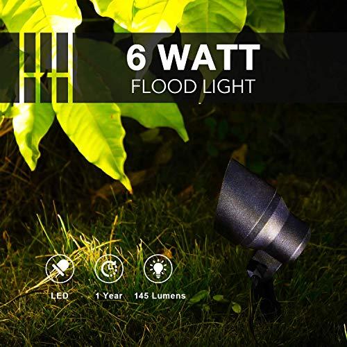 GOODSMANN Landscape Lighting Flood Light 6W LED Low Voltage Garden Light With Metal Spike Stand 145 Lumens 9920 2604 01 0 1