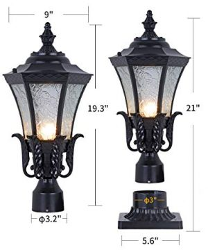 GYDZ Vintage Outdoor Post Mount Light21H Pier Mount Post Light Outdoor For Villa Or Garden Backyard Victorian Light Fixture In Oil Rubbed Black With Water Ripple Glass 0 300x360