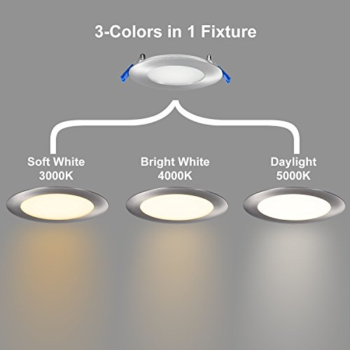 GetInLight 3 Color Dimmable Slim LED Recessed Lighting 4 Inch Junction Box Included 3000KSoft White 4000KBright White 5000KDay Light Brushed Nickel ETL Listed IN 0303 12 SN 30 40 50 0 0