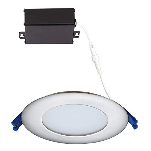 GetInLight 3 Color Dimmable Slim LED Recessed Lighting 4 Inch Junction Box Included 3000KSoft White 4000KBright White 5000KDay Light Brushed Nickel ETL Listed IN 0303 12 SN 30 40 50 0