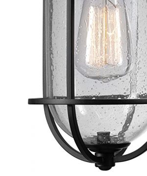 Globe Electric 44094 Turner 1 Light IndoorOutdoor Wall Sconce Black With Seeded Glass Shade 0 0 300x360