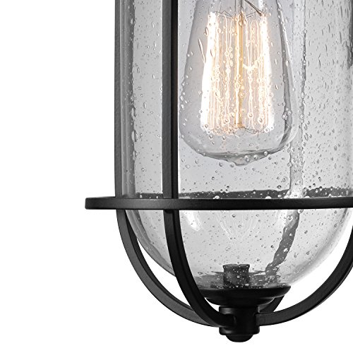 Globe Electric 44094 Turner 1 Light IndoorOutdoor Wall Sconce Black With Seeded Glass Shade 0 0