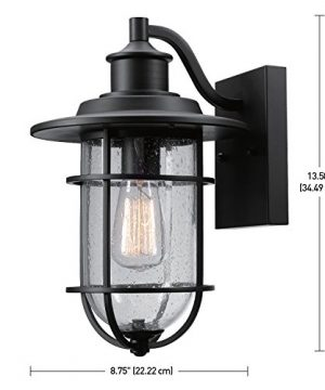Globe Electric 44094 Turner 1 Light IndoorOutdoor Wall Sconce Black With Seeded Glass Shade 0 1 300x360