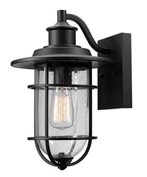 Globe Electric 44094 Turner 1 Light IndoorOutdoor Wall Sconce Black With Seeded Glass Shade 0 300x360