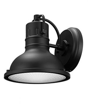 Globe Electric 44157 Harbor 1 Light Outdoor Indoor Wall Sconce Matte Black Clear Plastic Diffuser 0 300x360