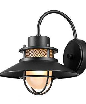 Globe Electric Liam 1 Light Outdoor Wall Sconce Matte Black Frosted White Glass Shade 44233 0 300x360