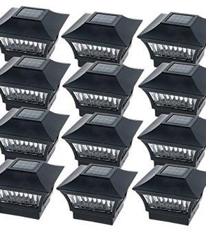 GreenLighting Black Aluminum Solar Post Cap Light 4x4 Wood 6x6 PVC 12 Pack 0 300x360