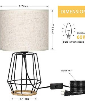 HAITRAL Bedside Table Lamp Farmhouse Table Lamp Basket Cage Style Chrome Metal Base With Linen Fabric Shade Lamp For Living Room Bedroom Black HT TH59 02 0 0 300x360