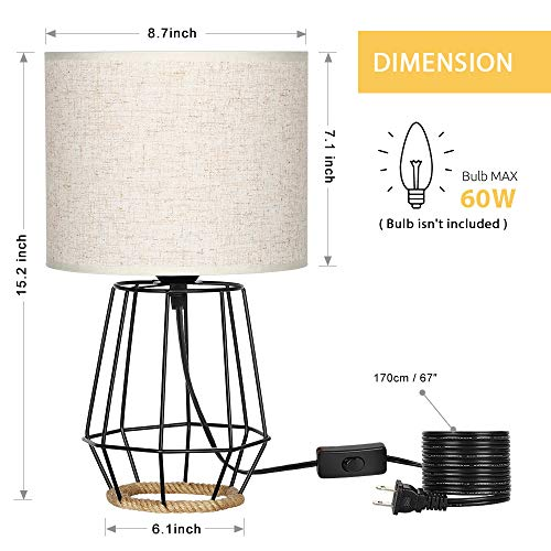 HAITRAL Bedside Table Lamp Farmhouse Table Lamp Basket Cage Style Chrome Metal Base With Linen Fabric Shade Lamp For Living Room Bedroom Black HT TH59 02 0 0