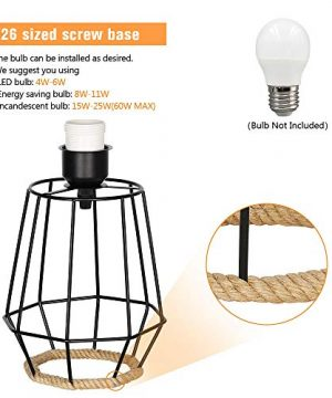 HAITRAL Bedside Table Lamp Farmhouse Table Lamp Basket Cage Style Chrome Metal Base With Linen Fabric Shade Lamp For Living Room Bedroom Black HT TH59 02 0 1 300x360