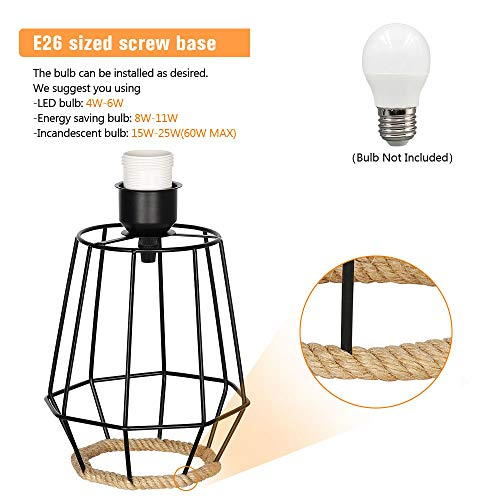 HAITRAL Bedside Table Lamp Farmhouse Table Lamp Basket Cage Style Chrome Metal Base With Linen Fabric Shade Lamp For Living Room Bedroom Black HT TH59 02 0 1