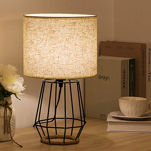 HAITRAL Bedside Table Lamp Farmhouse Table Lamp Basket Cage Style Chrome Metal Base With Linen Fabric Shade Lamp For Living Room Bedroom Black HT TH59 02 0 2