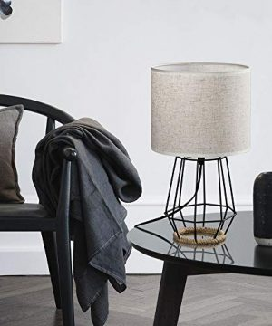 HAITRAL Bedside Table Lamp Farmhouse Table Lamp Basket Cage Style Chrome Metal Base With Linen Fabric Shade Lamp For Living Room Bedroom Black HT TH59 02 0 3 300x360
