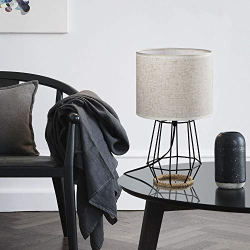 HAITRAL Bedside Table Lamp Farmhouse Table Lamp Basket Cage Style Chrome Metal Base With Linen Fabric Shade Lamp For Living Room Bedroom Black HT TH59 02 0 3