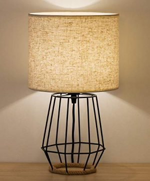 HAITRAL Bedside Table Lamp Farmhouse Table Lamp Basket Cage Style Chrome Metal Base With Linen Fabric Shade Lamp For Living Room Bedroom Black HT TH59 02 0 300x360
