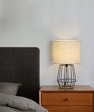HAITRAL Bedside Table Lamp Farmhouse Table Lamp Basket Cage Style Chrome Metal Base With Linen Fabric Shade Lamp For Living Room Bedroom Black HT TH59 02 0 4 300x360