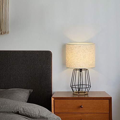 HAITRAL Bedside Table Lamp Farmhouse Table Lamp Basket Cage Style Chrome Metal Base With Linen Fabric Shade Lamp For Living Room Bedroom Black HT TH59 02 0 4