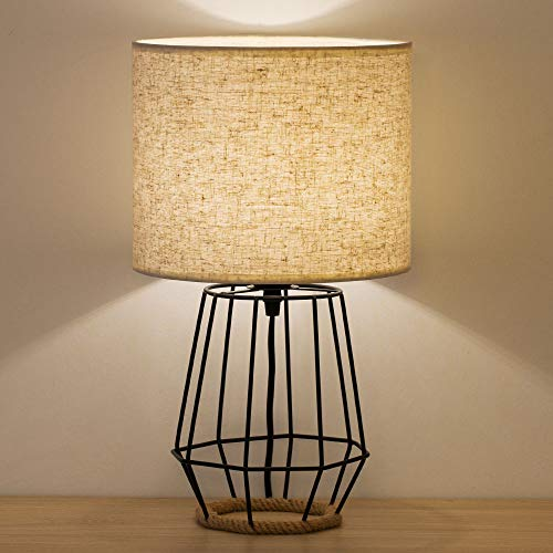 HAITRAL Bedside Table Lamp Farmhouse Table Lamp Basket Cage Style Chrome Metal Base With Linen Fabric Shade Lamp For Living Room Bedroom Black HT TH59 02 0