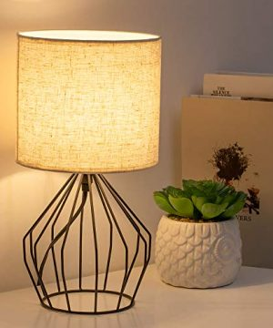 HAITRAL Cage Table Lamp Minimalist Bedside Desk Lamp With Hollowed Out Base And Linen Fabric Shade Vintage Nightstand Light For Bedroom Living Room College Dorm Kids Room Black 0 0 300x360