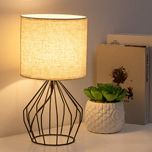HAITRAL Cage Table Lamp Minimalist Bedside Desk Lamp With Hollowed Out Base And Linen Fabric Shade Vintage Nightstand Light For Bedroom Living Room College Dorm Kids Room Black 0 0