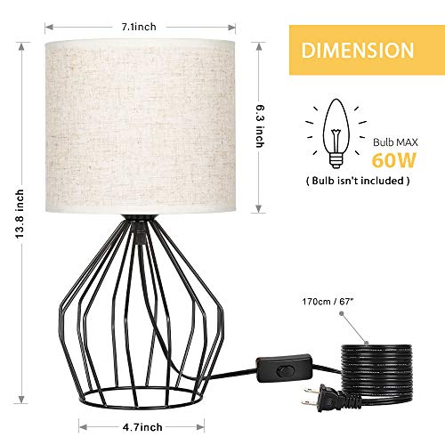 HAITRAL Cage Table Lamp Minimalist Bedside Desk Lamp With Hollowed Out Base And Linen Fabric Shade Vintage Nightstand Light For Bedroom Living Room College Dorm Kids Room Black 0 1