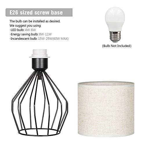 HAITRAL Cage Table Lamp Minimalist Bedside Desk Lamp With Hollowed Out Base And Linen Fabric Shade Vintage Nightstand Light For Bedroom Living Room College Dorm Kids Room Black 0 2