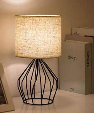 HAITRAL Cage Table Lamp Minimalist Bedside Desk Lamp With Hollowed Out Base And Linen Fabric Shade Vintage Nightstand Light For Bedroom Living Room College Dorm Kids Room Black 0 3 300x360