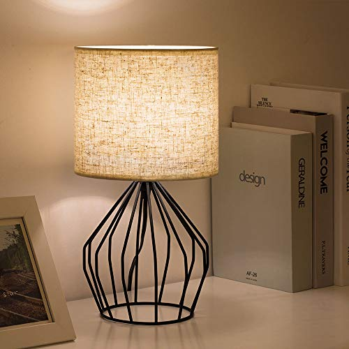 HAITRAL Cage Table Lamp Minimalist Bedside Desk Lamp With Hollowed Out Base And Linen Fabric Shade Vintage Nightstand Light For Bedroom Living Room College Dorm Kids Room Black 0 3