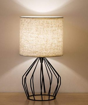 HAITRAL Cage Table Lamp Minimalist Bedside Desk Lamp With Hollowed Out Base And Linen Fabric Shade Vintage Nightstand Light For Bedroom Living Room College Dorm Kids Room Black 0 300x360