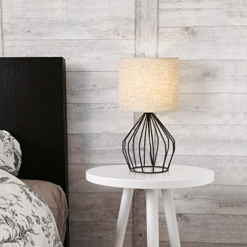 HAITRAL Cage Table Lamp Minimalist Bedside Desk Lamp With Hollowed Out Base And Linen Fabric Shade Vintage Nightstand Light For Bedroom Living Room College Dorm Kids Room Black 0 4