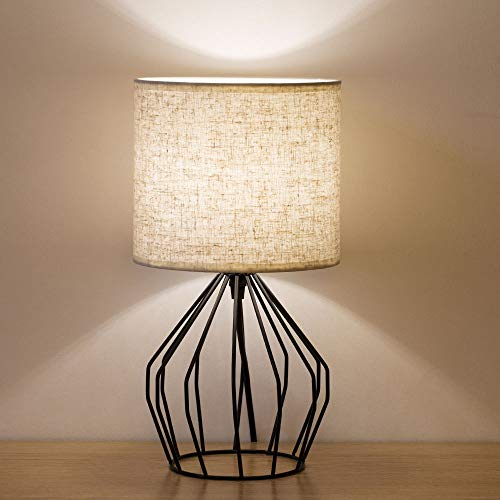 HAITRAL Cage Table Lamp Minimalist Bedside Desk Lamp With Hollowed Out Base And Linen Fabric Shade Vintage Nightstand Light For Bedroom Living Room College Dorm Kids Room Black 0