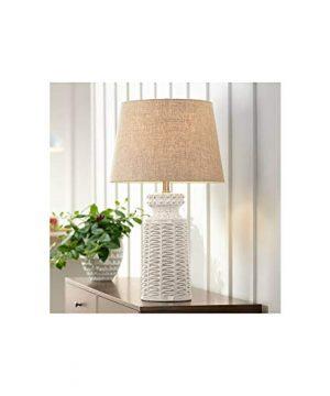 Helene Country Cottage Table Lamp Ceramic Rustic Cream White Glaze Linen Tapered Drum Shade For Living Room Family Bedroom 360 Lighting 0 300x360