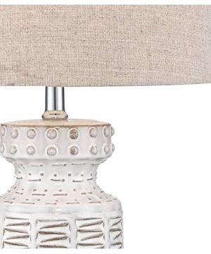 Helene Country Cottage Table Lamp Ceramic Rustic Cream White Glaze Linen Tapered Drum Shade For Living Room Family Bedroom 360 Lighting 0 4 300x360