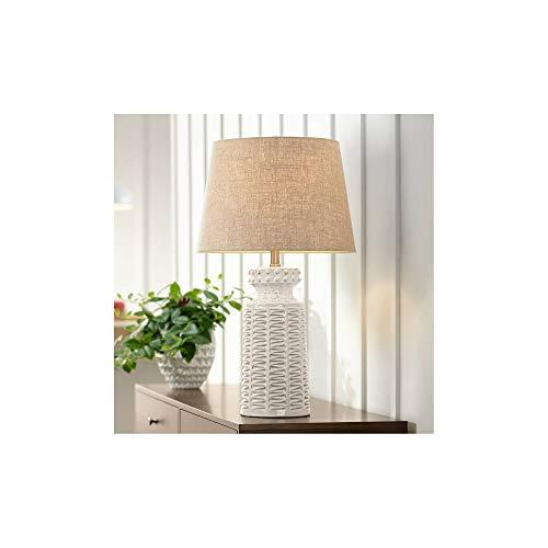 Helene Country Cottage Table Lamp Ceramic Rustic Cream White Glaze Linen Tapered Drum Shade For Living Room Family Bedroom 360 Lighting 0