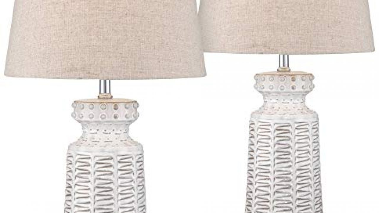 Helene Country Cottage Table Lamps Set Of 2 Ceramic Rustic White Glaze Linen Shade For Living Room Family Bedroom Farmhouse Goals