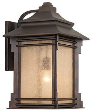 Hickory Point Rustic Farmhouse Outdoor Wall Light Fixture Walnut Bronze 19 Lantern Frosted Cream Glass For Exterior House Porch Patio Deck Garage Franklin Iron Works 0 0 300x360