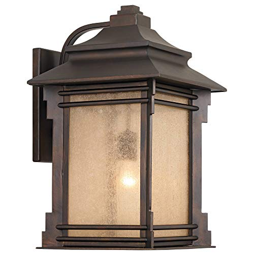 Hickory Point Rustic Farmhouse Outdoor Wall Light Fixture Walnut Bronze 19 Lantern Frosted Cream Glass For Exterior House Porch Patio Deck Garage Franklin Iron Works 0 0