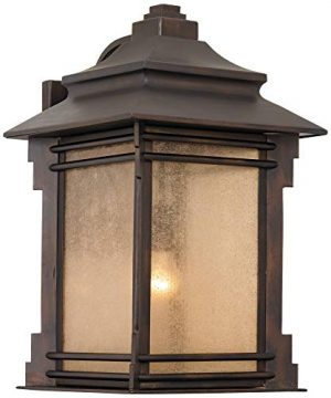 Hickory Point Rustic Farmhouse Outdoor Wall Light Fixture Walnut Bronze 19 Lantern Frosted Cream Glass For Exterior House Porch Patio Deck Garage Franklin Iron Works 0 3 300x360