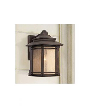 Hickory Point Rustic Farmhouse Outdoor Wall Light Fixture Walnut Bronze 19 Lantern Frosted Cream Glass For Exterior House Porch Patio Deck Garage Franklin Iron Works 0 300x360