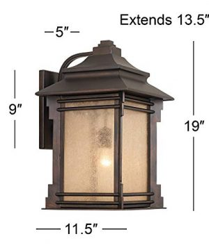 Hickory Point Rustic Farmhouse Outdoor Wall Light Fixture Walnut Bronze 19 Lantern Frosted Cream Glass For Exterior House Porch Patio Deck Garage Franklin Iron Works 0 4 300x360